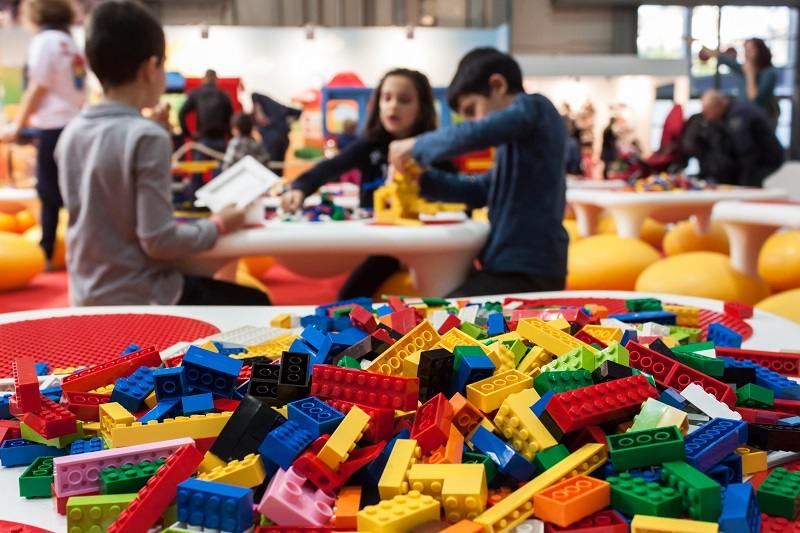 Detail of Lego building bricks at G! come giocare in Milan, Italy
